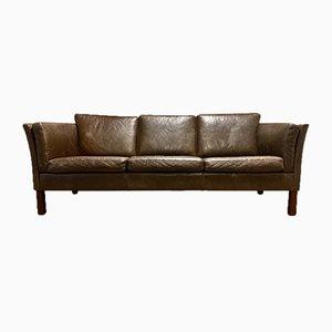 Scandinavian Brown Leather Sofa, 1960s