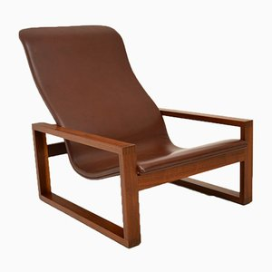 Vintage Leather & Wood Armchair, 1960s