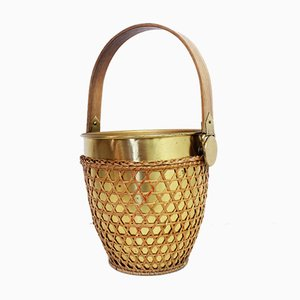 Ice Bucket in Brass and Cane, 1960s or 1970s