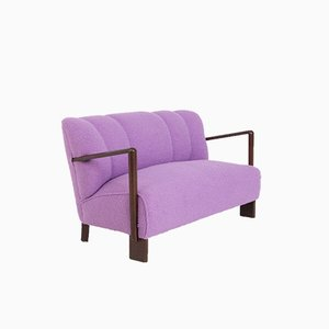 Vintage Italian Sofa or Loveseat in Purple Bouclè Fabric