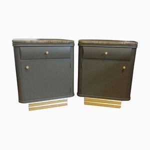 Custom-Made Art Deco Nightstands with Stone Tops, Set of 2