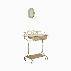 Antique French Washing or Dressing Table with Oval Mirror, 1870s