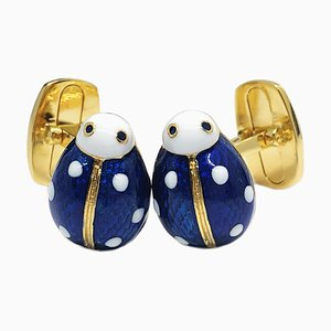 Blue Hand Enameled Ladybug Shaped Sterling Silver & Gold Plated Cufflinks from Berca