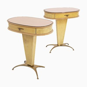 Vintage Italian Nightstands in Parchment with Rose-Colored Glass, Set of 2