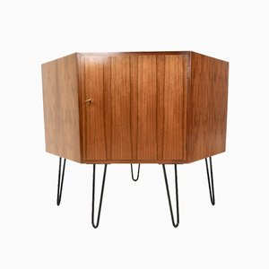 Mid-Century Walnut Corner Cupboard or Dresser, 1960s