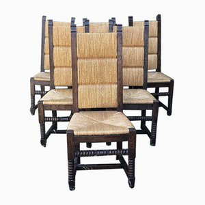 Neo-Basque Oak and Straw Chairs, 1950s, Set of 6