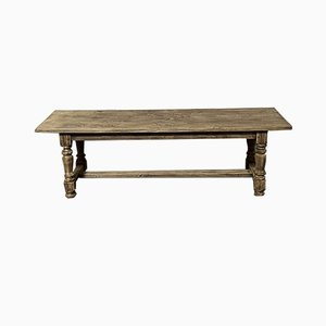 Big Bleached Oak Farmhouse Dining Table with Extensions