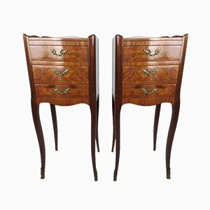Louis XV Style Inlaid Bedside Tables, Set of 2