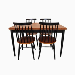 Chairs and Table by I. Tapiovaara, Finland, 1960s, Set of 4