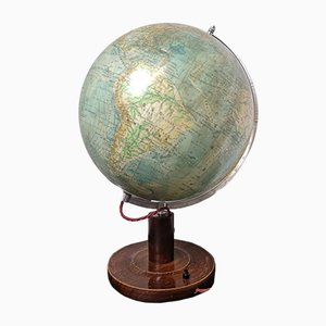 Vintage East German Physical Earth Glass Globe Lamp by Raths Leipzig, 1960s