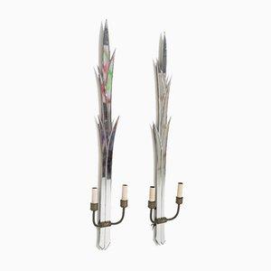 Italian Brass and Mirror Wall Lamps by Luigi Fontana, Set of 2