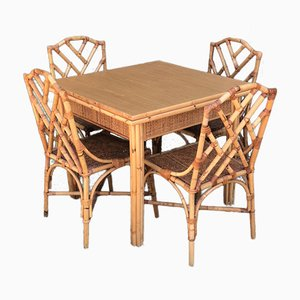 Table and 4 Chairs in Bamboo and Wicker from Dal Vera, 1970s, Set of 5
