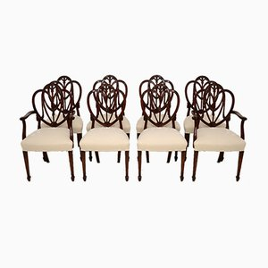 Antique Sheraton Style Mahogany Dining Chairs, Set of 8