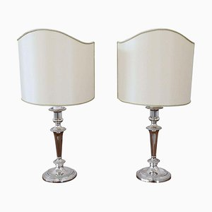 Silver-Plated Table Lamps by Barker Ellis, 1980s, Set of 2