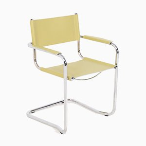 Italian Steel and Yellow Leather Chairs, Set of 6