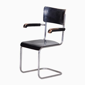 Czech Bauhaus Blackened Plywood Armchair from Wind and Co, 1930s