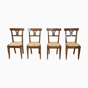 Antique Walnut Dining Chairs, Set of 4