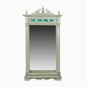 Big Painted Wall Mirror with Tiles, 1890s