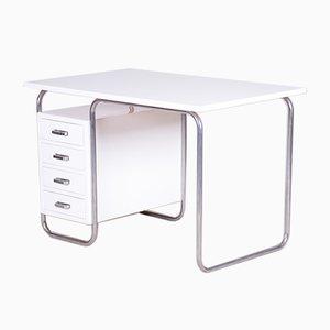 Czech White Beech and Chrome Tubular Bauhaus Writing Desk by Robert Slezak, 1930s