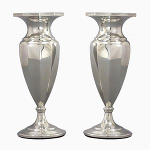 Decagonal Sterling Silver Vases by Docker & Burn, 1921, Set of 2