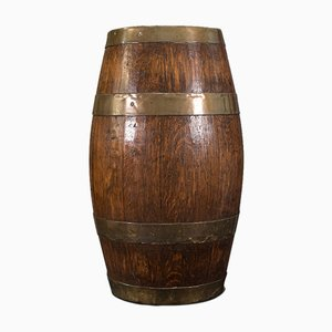 Antique English Late Victorian Oak, Brass and Coopered Barrel, 1900