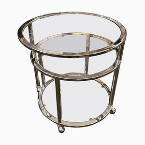 Space Age Steel and Glass Round Italian Openable Trolley Cart, 1970s