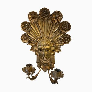 Art Nouveau Gilded Wood and Iron Italian Candle Sconce, 1900s