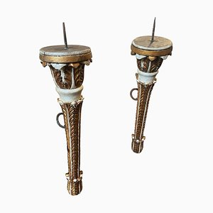 Baroque Style Sicilian Gilded Wood Wall Torches, 1900s, Set of 2