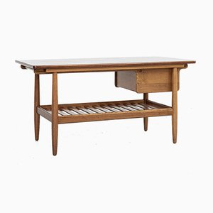 Mid-Century Danish Coffee Table in Oak and Teak by Ejvind A. Johansson for FDB