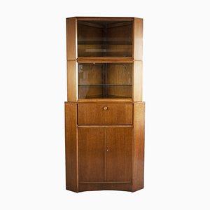 Oak Veneer and Glass Corner Cabinet or Bureau, 1960s