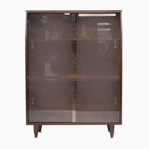 Vintage Glass Fronted Bookcase in Dark Wood, 1960s