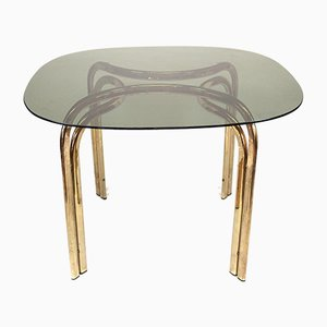 Italian Brass and Smoked Glass Dining Table, 1970s