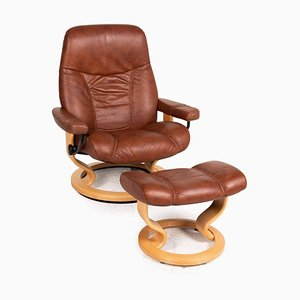 Brown Leather Stressless Consul Recliner Armchair & Stool, Set of 2