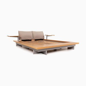 Wooden Double Futon with Slatted Frame & 2 Bedside Tables from Ligne Roset