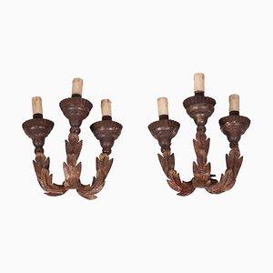 3-Light Sconces, Set of 2