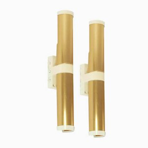 Gold-Colored Wall Lamps from Philips, 1970s, Set of 2