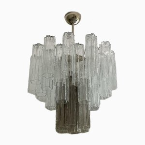 Medium-Sized Tubular Prism Chandelier in Murano Glass