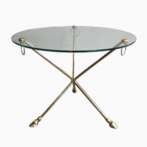 Neoclassical Style Round Brass Tripod Coffee Table with Doe Feet and Glass Top from Maison Jansen, France, 1960s