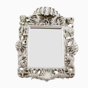 White Ceramic Mirror with Marine Decoration from Bassano, Italy, 1970s