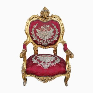 Carved and Gilded Armchair with Red Damask Fabric, Italy, 1960s