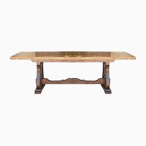 Mid-Century Italian Neoclassical Chestnut & Beech Table