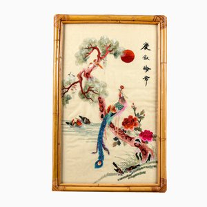 Orientalist Silk Embroidery Panel in Bamboo Frame, Italy, 1960s