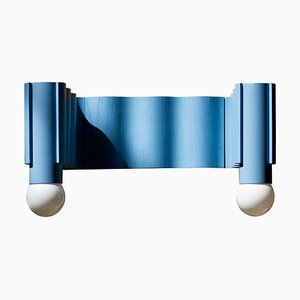 Corrugation Light Blue Double Sconce by Theodora Alfredsdottir
