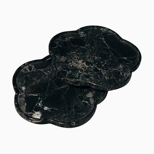 Black Marble Ariadne Coasters by Faye Tsakalides, Set of 2