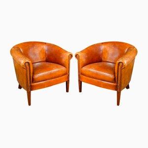 Vintage Sheep Leather Armchair in Cognac Brown