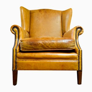 Vintage Leather Wingback Chair in Light Brown