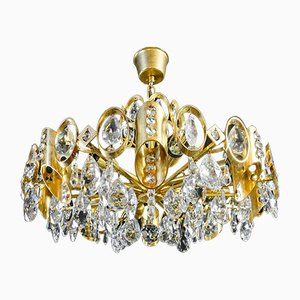 Vintage Hollywood Regency Chandelier in Gilt & Crystal Glass from Palwa