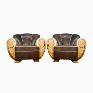 Art Deco Leather Chair in Beige, 1930s