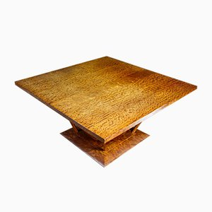 Square Art Deco African Rosewood Table in Brown