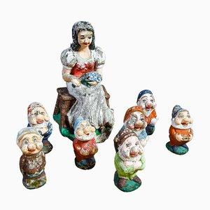 Vintage Concrete Snow White and Seven Dwarfs Figurine Set